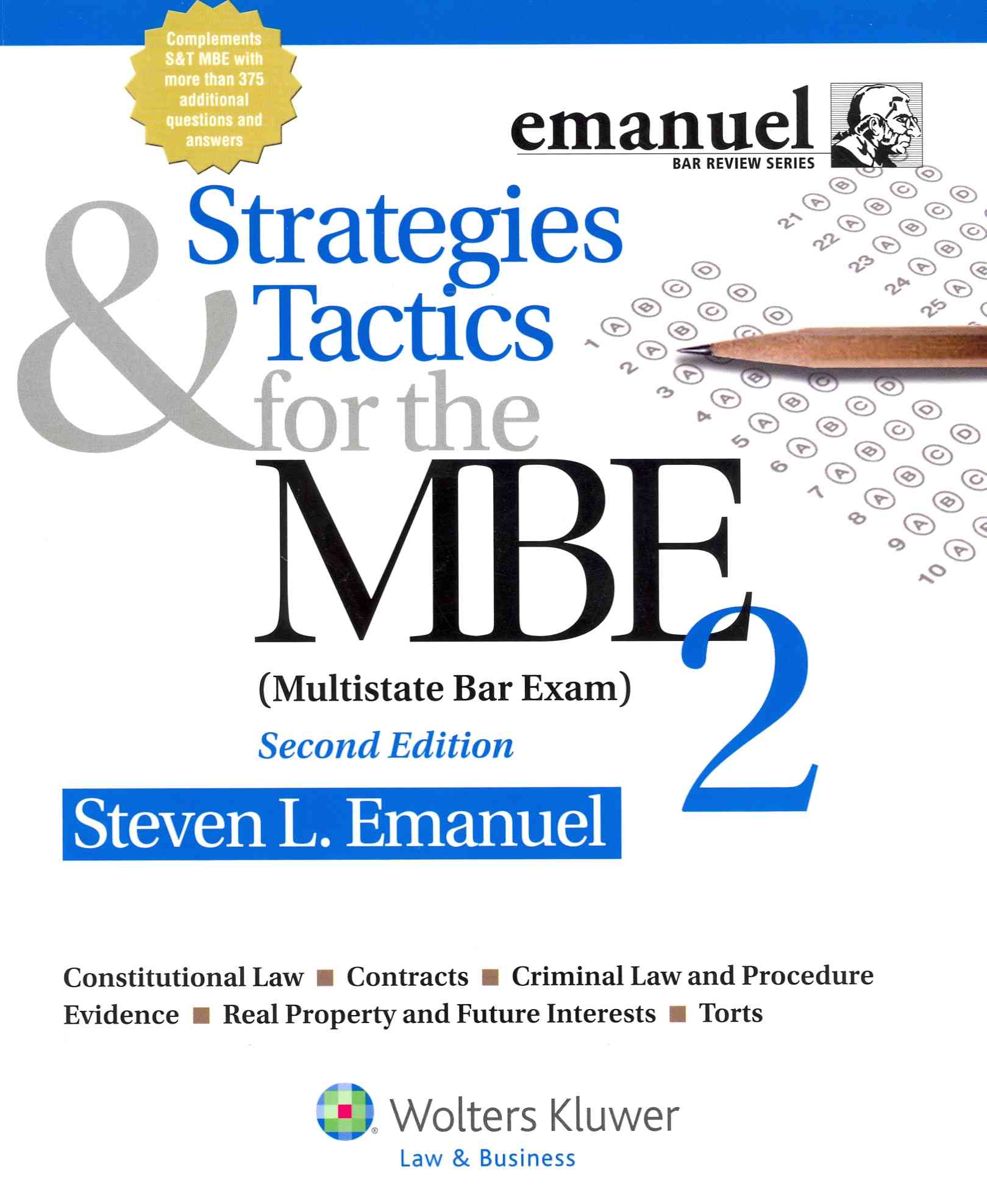 Strategies & Tactics for the MBE 2 (Multistate Bar Exam) By Emanuel, Steven